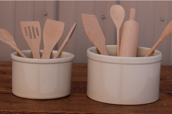 Short Stoneware Utensil Crocks