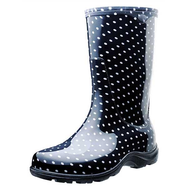 Black and White Polka Dot Rain Boots