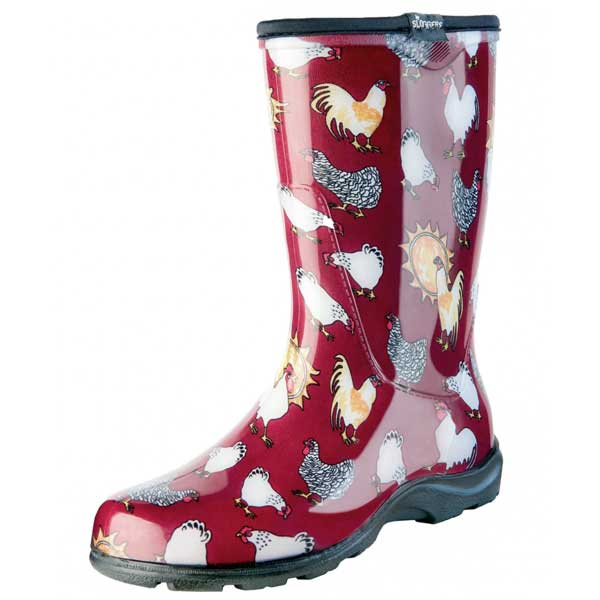 Red Chicken Rain Boots Garden Shoes Red Hill General Store