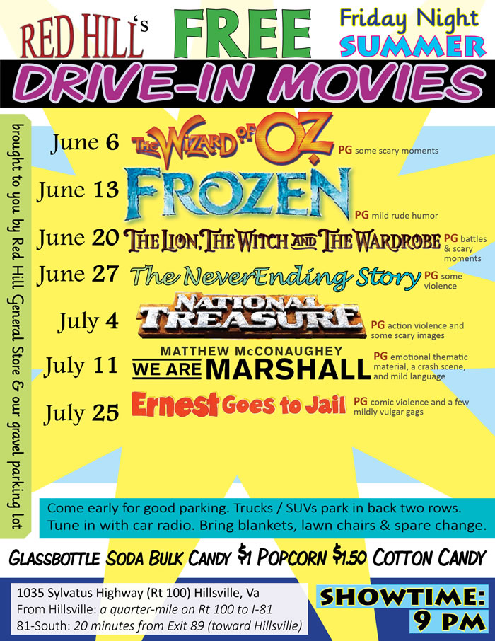 Red Hill General Store's Free Drive in 2014 Movie Schedule